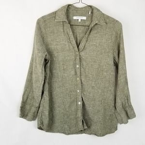 Foxcroft NYC 100% Linen 3/4 Sleeve Button Up Med